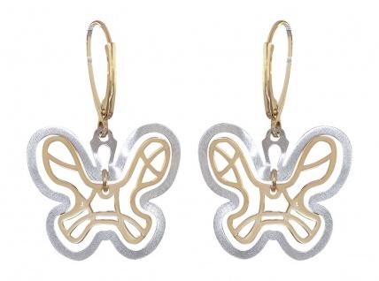 Schmetterling Ohrhänger Gold 585 Bicolor Ohrringe Ohrschmuck Butterfly Damen