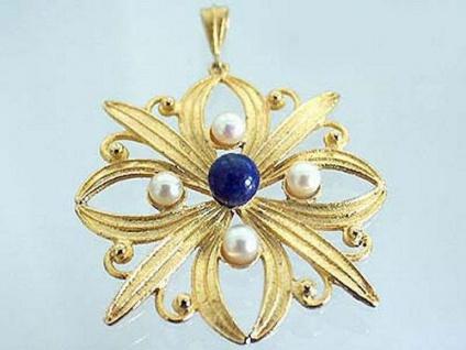 Großer Anhänger Silber 925 vergoldet m Perlen und Lapis massiver Silberanhänger