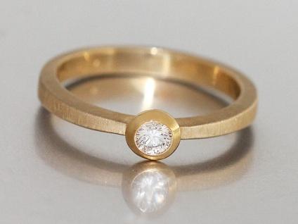 Brillantring Solitärring Ring Gold 585 Goldring 0, 17 ct Diamantring Damenring - Vorschau 2