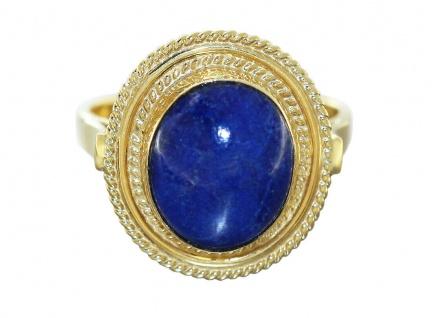 Ring Gold 750 Lapis Lazuli Cabochon oval Damenring Gelbgold 18 Kt.