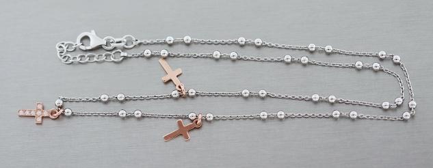 Feine Silber Kugelkette 925 mit drei Kreuz Anhängern Rotgold echte Silberkette