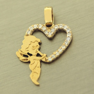 Anhänger Gold 585 - Schutzengel mit Herz u. Zirkonias - Goldanhänger Engel 14 kt
