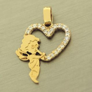 Anhänger Gold 585 Schutzengel mit Herz und Zirkonias Goldanhänger Engel 14 kt