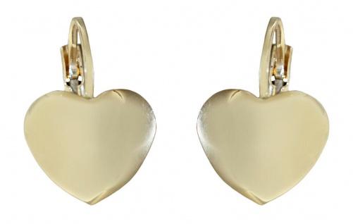 Herz Ohrhänger Gold 585 Ohrschmuck Herzen Brisuren Damen 14 Karat