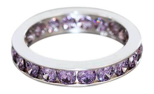 Memoryring echt Silber 925 mit Amethyst Zirkonias - Silberring - Ring - Bandring