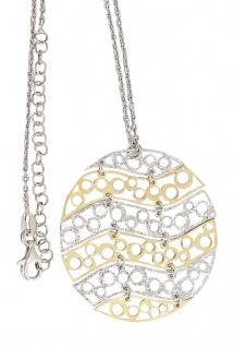 Silberkette u großer runder Anhänger Sterlingsilber 925 Gold Collier Halskette