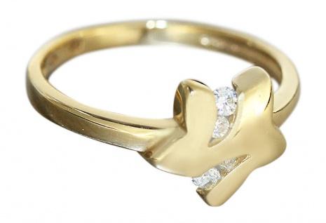 Bezaubernder Goldring 750 Stern mit funkelnden Zirkonia - Ring Gold - Damenring