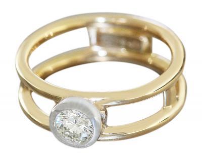 Ring Gold 750 Brillantring 0, 44 ct Goldring 18 Karat Brillant Solitärring RW 55