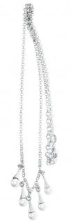 Silberkette 925 mit 5 Perlen Anhängern weiß Halskette Collier Damen Karabiner