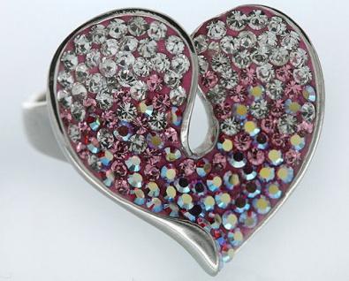 Großes geschwungenes Herz massiver Silberring 925 mit Zirkonias Ring mit Pink