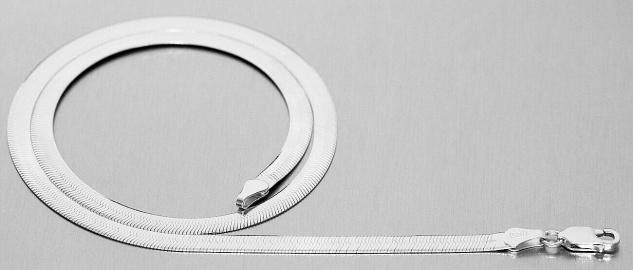 Collier Silber 925 flaches Geschmeide Halskette Silberkette massiv Karabiner