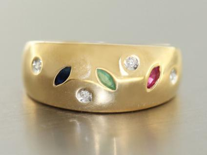 Ring Gold 585 Brillantring in 14 kt Gold (585/000) mit Rubin, Safir, Smaragd