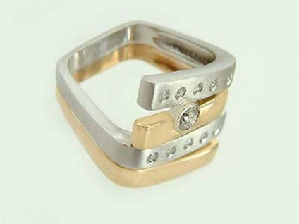 Brillantring 0, 25 ct. Designerring Ring Zweifarbengold 585 Goldring Damenring