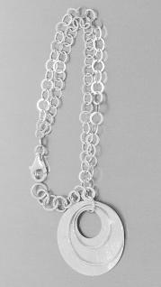 Armband Silber 925 mit Anhänger Armkette 2 reihig massiv Karabiner Damen