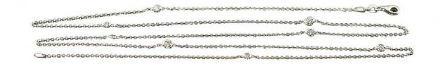 85 cm lange feine Silberkette 925 mit Zirkonias - Kette Silber Halskette Collier