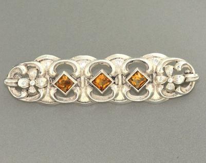 Antike Brosche Silber 925 mit Citrin - exclusive Silberbrosche