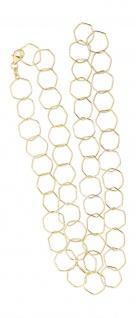 Silberkette 925 vergoldet 75 cm Halskette große Glieder massiv Karabiner Gold
