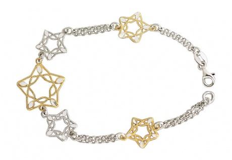 Zauberhaftes Silberarmband 925 Sterne Gold und Silber Armband Stern Armkette