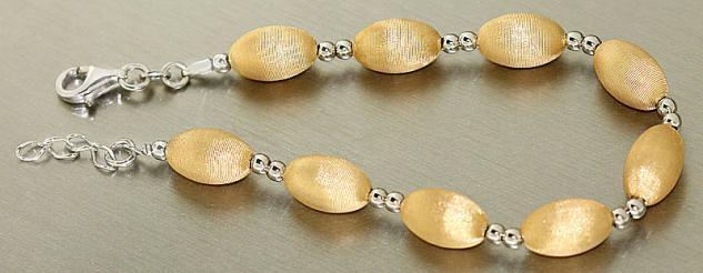 Elegantes Armband Silber 925 Gold - Silberarmband vergoldet - Armkette Perlen