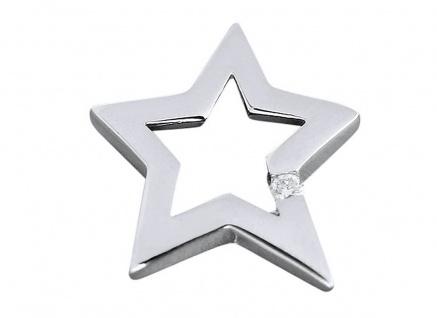 Glitzerstern Anhänger Weißgold 585 mit Brillant 0, 05 ct Stern Kettenanhänger WG