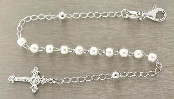 Rosenkranz Armband echt Silber 925 mit weißen Perlen und Anhänger Kreuz Silber
