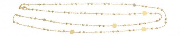 80 cm lange feine Silberkette 925 vergoldet Kugelkette Gold - Blume und Zirkonia