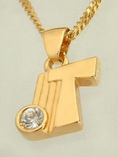 T Schmuckset Goldkette pl und Anhänger Buchstabe T Panzerkette Halskette