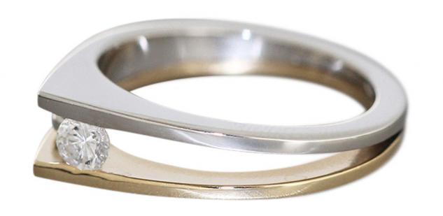 Ring Gold 585 zweifärbig mit Brillant Solitär 0, 23 ct Goldring Solitärring