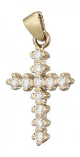 Kleines Kreuz Gold 585 Anhänger mit Zirkonia Goldkreuz Goldanhänger Kreuz 14 kt