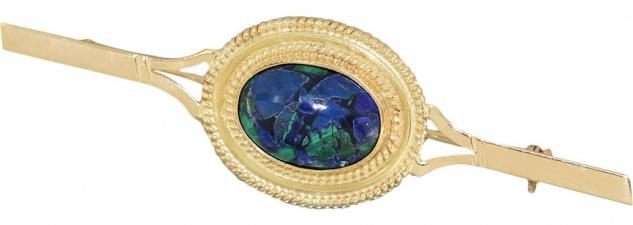Wunderschöne Brosche Gold 750 mit Azurit Cabochon Brosche edle Goldbrosche 18 kt