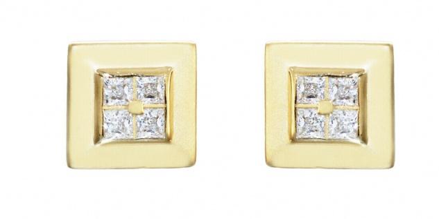 Ohrstecker Gold 585 Quadrate mit Zirkonias Ohrringe 14 Kt Ohrschmuck Damen