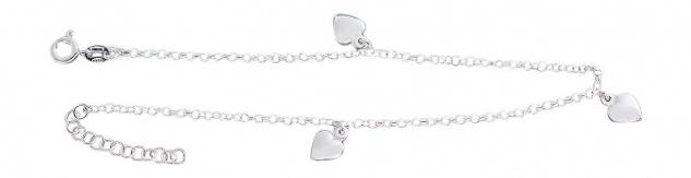 Fußkette Silber 925 mit drei Herzen Silberkette Fußkettchen Silberherz Anhänger