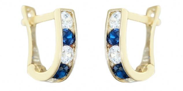 Kleine Ohrringe Gold 585 Zirkonias blau weiß Creolen Mädchen Damen 14 Karat
