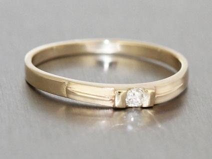 Zarter Goldring 585 mit Brillant Brillantring Solitär feiner Ring Gold 14 kt