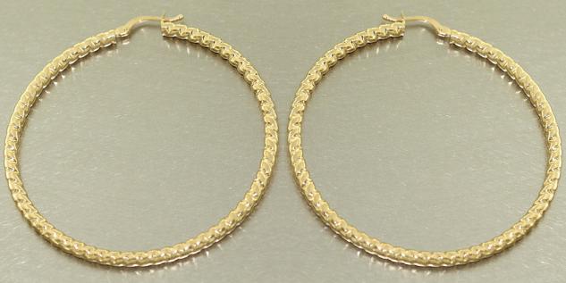5, 5 cm Große Creolen Gold 585 Ohrringe Goldcreolen mit Muster 14 Kt. Gelbgold
