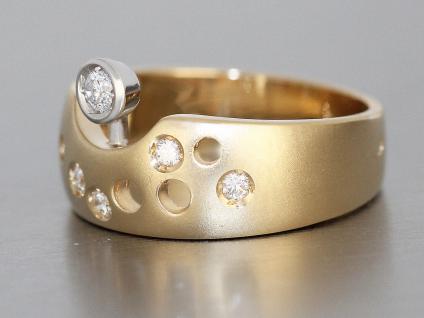 Ring Gold 585 massiv Ring mit Brillanten Goldring Damenring bicolor 14 Karat