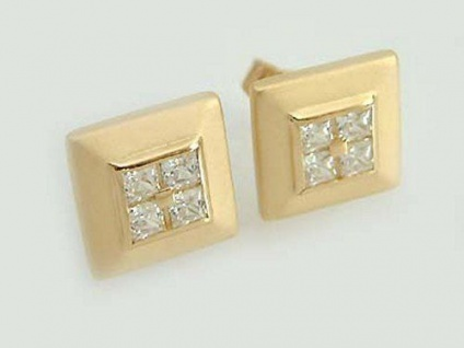 Quadrat Ohrstecker Gold 585 14 Kt mit Zirkonias Ohrringe Goldohrstecker