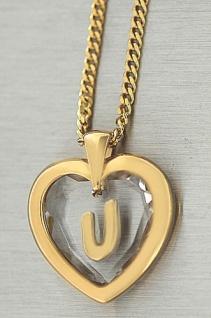 Buchstabe U - Goldkette pl und Anhänger Herz Kristallherz - Panzerkette Gold pl