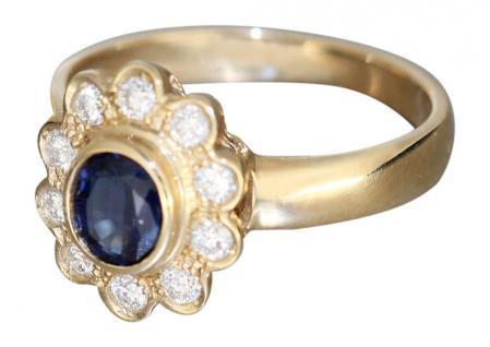 Goldring 585 mit Brillanten u Saphir Brillantring Gold 14 Karat Luxus Goldring