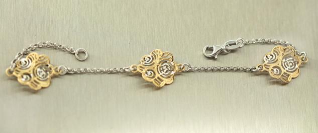 Silberarmband 925 massiv - Armband Silber Gold - Armkette mit Blumen Goldkette