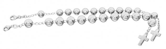 Armband Silber 925 Kreuz Anhänger Kugelarmband 8 oder 10 mm Perlen Silber