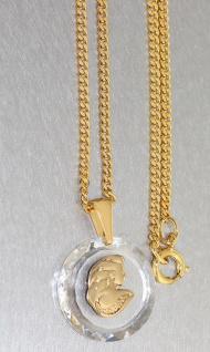 Sternzeichen Jungfrau auf Kristall Anhänger und Panzerkette vergoldet Goldkette