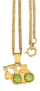 Bagger Anhänger u Panzerkette vergoldet Kette Gold pl Kinderkette Halskette