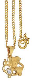 Kleine Mäuschen Anhänger Maus und Goldkette vergoldet Schmuckset Panzerkette