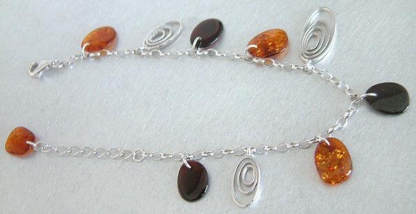 Wunderschönes Silberarmband 925 mit Bernsteinen - Bettelarmband Armkette Silber
