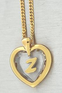 Buchstabe Z Goldkette pl und Anhänger Herz Kristallherz Panzerkette Gold pl