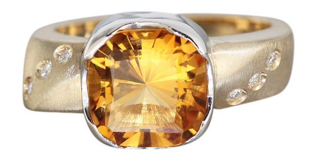 Designerring Gold 585 mit Citrin und Brillanten Goldring Damenring Brillantring