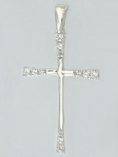 Kreuz in Weißgold 585 - Anhänger mit Zirkonia Weißgoldkreuz Goldanhänger 14 kt