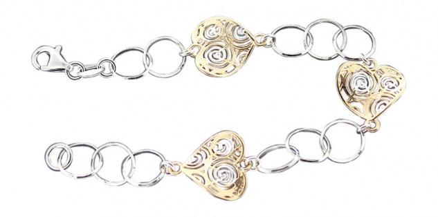 Armband Silber 925 mit Herzen Gold Silberarmband Armkette Designerarmband