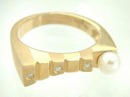 Brillantring Gold 585 mit Perle Goldring Perlenring Ring Gold Damenring